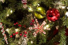 Christmas Tree Background with Sparkling Lights Stock Photo