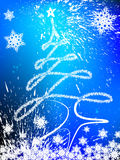 Christmas tree background. With star and snowflaks Stock Photo