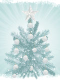 Christmas tree background and white baubles2 Royalty Free Stock Photography