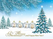 Happy New Year 2018. Christmas tree. Christmas tree on a background of winter nature Stock Photo