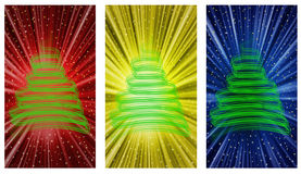 Christmas tree backgrounds. An illustration with christmas tree in three different backgrounds Stock Images