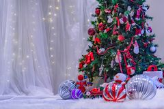 Christmas Themed stage with white backdrop. royalty free stock photos