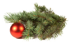 Christmas tree and ball. Isolated on white background Stock Image