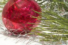 Christmas tree and ball. Over white Stock Photo