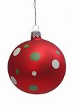 Christmas Tree Ball. Red christmas tree ball with spots, isolated on white background stock photos