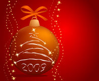Christmas-tree ball. Christmas-tree decorations on red background stock illustration