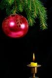 Christmas tree,ball and candle Stock Image