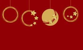 Christmas tree ball collection set. Christmas ball set mockup background Traditional. Xmas tree garland star lights. Red vector illustration template. Winter Royalty Free Stock Image