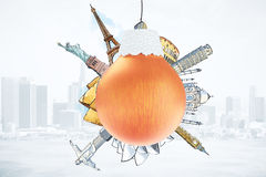 Christmas tree ball with famous travel landmarks. Close up Stock Image