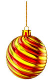 Christmas-tree ball with gold and red spiral Stock Photo