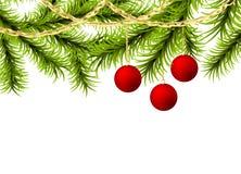 Christmas tree ball golden garland. Christmas realistic fluffy green pine tree greeting template. Xmas happy holiday Christmas ball mockup. Vector golden garland Stock Photos
