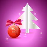 Christmas tree and ball on green background Royalty Free Stock Photos