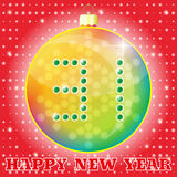 Christmas tree ball. 31 Happy New Year, card, icon. Vector Royalty Free Stock Images