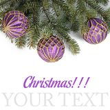 Christmas tree with ball isolated Royalty Free Stock Photo