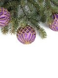 Christmas tree with ball isolated Royalty Free Stock Photography