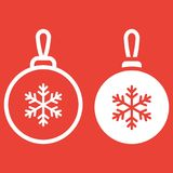 Christmas tree ball line and glyph icon. New year and Christmas, xmas sign vector graphics, a linear pattern on a red background, eps 10 Royalty Free Stock Images