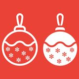 Christmas tree ball line and glyph icon. New year and Christmas, xmas sign vector graphics, a linear pattern on a red background, eps 10 Stock Images