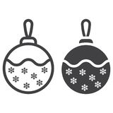 Christmas tree ball line and glyph icon. New year and Christmas, xmas sign vector graphics, a linear pattern on a white background, eps 10 Royalty Free Stock Images