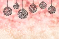 Christmas Tree Ball Ornament, Copy Space, Lighr Red Background royalty free stock image