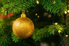 Christmas Tree Ball Ornament Festive Holiday Decoration Gold Clo Royalty Free Stock Image