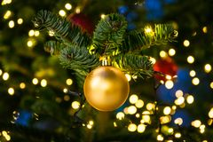 Christmas Tree Ball Ornament Festive Holiday Decoration Gold Clo Royalty Free Stock Images