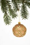 Christmas Tree Ball on spruce -  Weihnachtskugel mit Tannenzweig. Very beautiful  Christmas Tree Ball hanging on a spruce on white background - prunkvoll Royalty Free Stock Photo