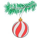 Christmas tree ball. Christmas toy on a branch of a fur-tree isolated on white. There is a variant in the vector Royalty Free Stock Photos