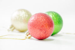 Christmas tree ball on wooden background Royalty Free Stock Images
