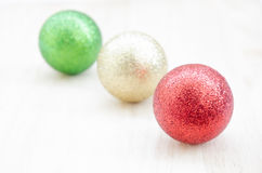 Christmas tree ball on wooden background Stock Photos