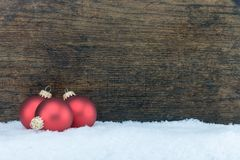 Christmas tree ball and wooden background Royalty Free Stock Photos
