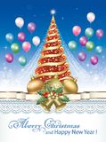 Celebrating the New Year 2018. Christmas tree with balloons and Christmas decorations Stock Image