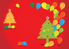 Christmas tree with balloons on red background, Royalty Free Stock Image
