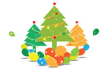 Christmas tree with balloons Royalty Free Stock Images