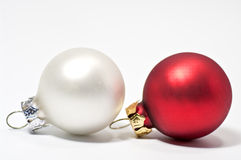 Christmas tree balls. In red and silver Royalty Free Stock Image