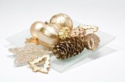 Christmas tree balls. On a plate Stock Image