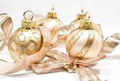 Christmas tree balls. Golden christmas tree balls on white Stock Images