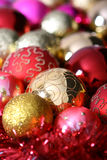 Christmas tree balls. With the golden ornament Royalty Free Stock Photos