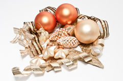 Christmas tree balls. Three christmas tree balls and ribbons Royalty Free Stock Photo