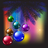 Christmas tree and balls Stock Photo