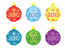 Christmas tree balls 2012. Set of christmas tree balls 2012 Royalty Free Stock Image
