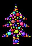 Christmas tree with balls. Abstract christmas tree with balls and black  background Stock Images
