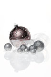 Christmas tree balls. Beautiful shiny christmas tree balls on white backround with reflection Royalty Free Stock Photography