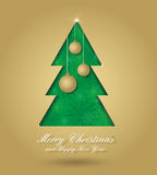 Christmas tree with balls. Christmas card with green christmas tree and gold balls formed from paper. Christmas postcard with seamless ornament, for your design Stock Photos