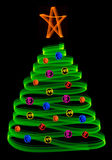 Christmas tree with balls. A christmas tree and ornamentals made with light blurs royalty free illustration