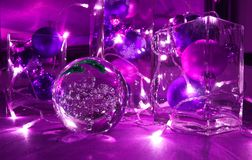 Free Christmas Tree Balls And Jewellery With Candle-lighted Rally, In Trend Colour Ultra Violet Royalty Free Stock Image - 113164826