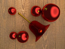 Christmas tree balls and bell Stock Image