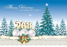 2018 Merry Christmas and Happy New Year 2018 Royalty Free Stock Photos