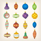 Christmas tree balls bells and colorful decorations. stock illustration