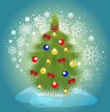 Christmas tree with balls, bells and ribbons on a background of a blizzard. EPS10  illustration Stock Photos