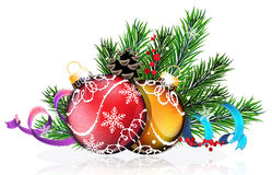Christmas tree balls with blue and purple ribbons Royalty Free Stock Photography
